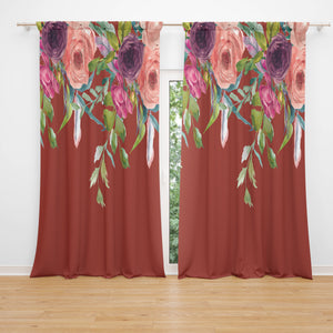Gypsy Floral  Blackout or Sheer Window Curtains