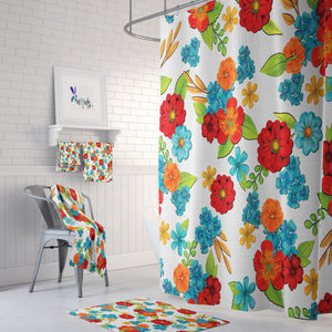 Meadow Pop Floral Shower Curtain Options Bathroom Decor