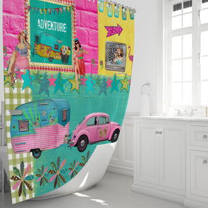 Retro Shower Curtain,Vintage Camper Bathroom Decor