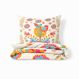 Folk Art Bedding, Colorful Birds, Duvet Cover or Comforter Set
