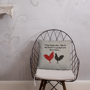 Farmhouse Throw Pillow, Funny Chickens