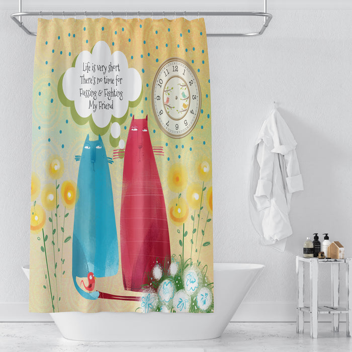 Watercolor Cats Shower Curtain