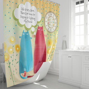 No Time For Fussing Shower Curtain, Flossies Cats Bathroom Decor