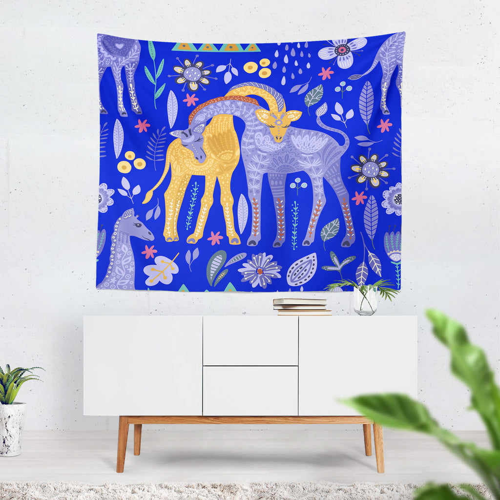 Folk Art Giraffes Wall Tapestry