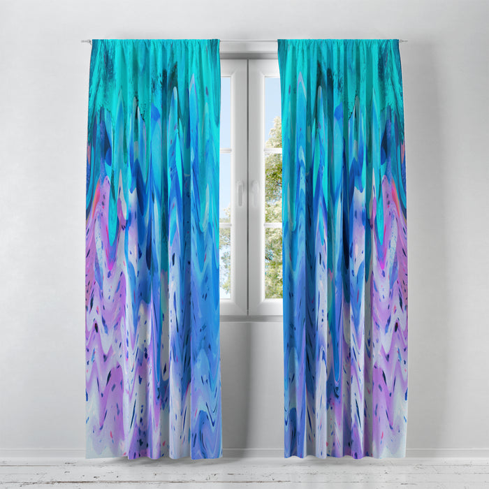 Dripping Paint Window Treatments, Teal and Purple Abstract Window Curtains, Window Valance