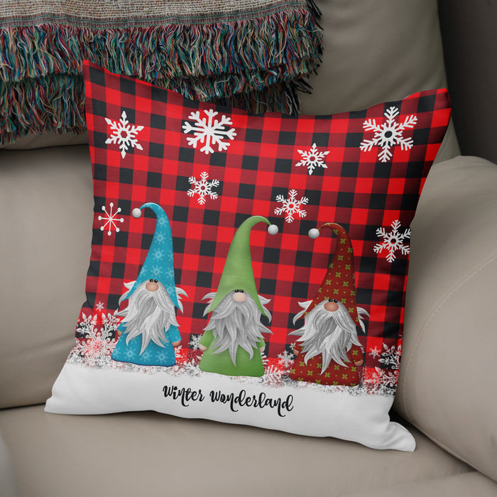 Christmas Gnome Throw Pillow, Lumberjack Plaid