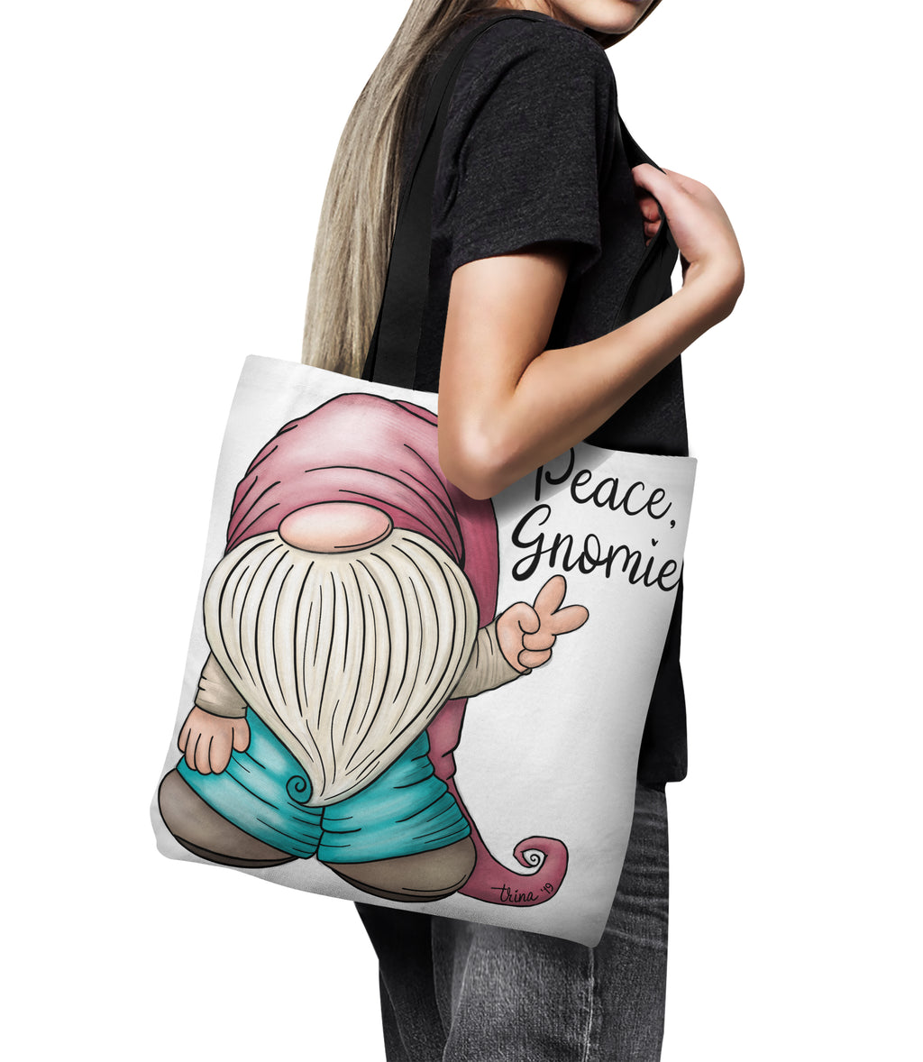 "Peace Gnomie Canvas Tote Bag 18"" Gnome Oversized Shopping Bag"