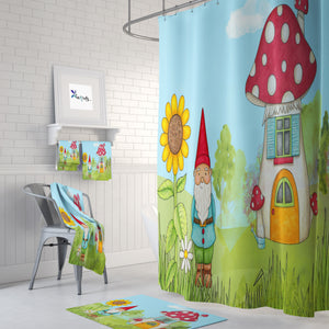 Gnome and Home Shower Curtain, Bath & Towel Set