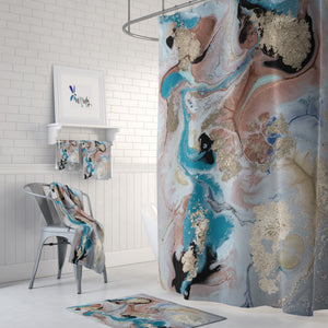 Gold Dust Marbled Shower Curtain Optional Towels Mat