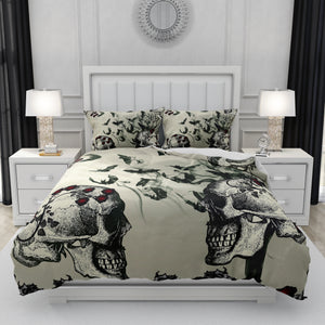 Bats and Roses Gothic Skull Bedding