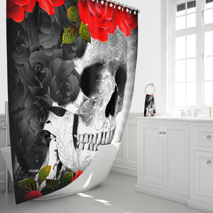 Gothic Skull Shower Curtain, Roses and Crows