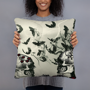 The Bats and Roses Gothic Skull Throw Pillows