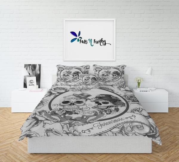 Black and White Key Forevermore Skulls Bedding | Skull Bedroom Decor