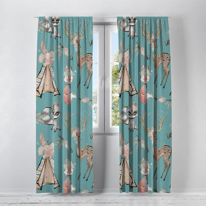 Turquoise Woodland Boho Window Curtains