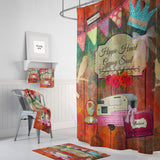 Hippie Heart, gypsy Soul, Shower Curtain, Retro Collage, Optional Bath Towels, Bath Mat