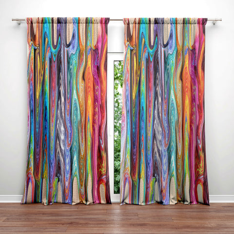 Boho Hippie Swirls Window Curtains