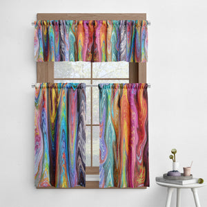Boho Hippie Swirl Cafe Style Curtains