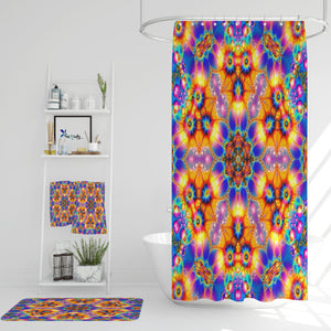 Hippie Fractal Shower Curtain Optional Towels and Bath Mat