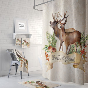 The Thankful and Blessed Woodland Deer Shower Curtain