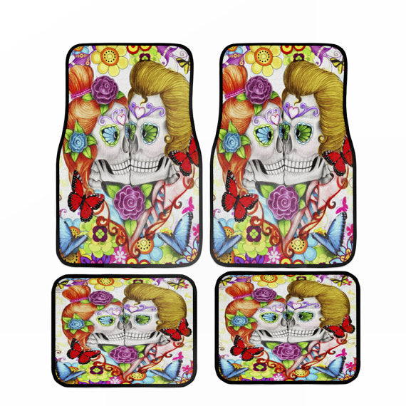 Crazy About You Fun and Colorful Forevermore Skulls Car Floor Mats
