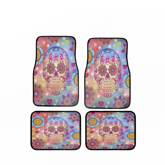 Hyper Color Boho Chic Retro Flower Design Car Floor Mats