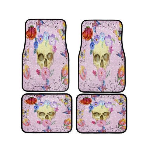 "Boho Chick ""Pink Thinkin"" Skull Car Floor Mats"