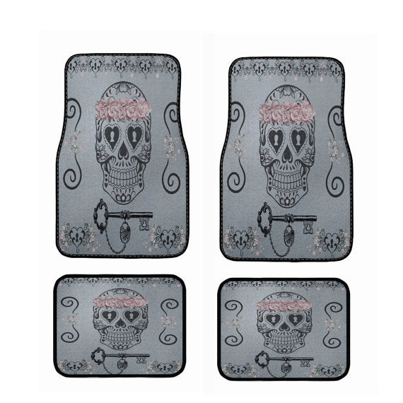 Pink Floral Crown Sugar Skull Key Car Floor Mats