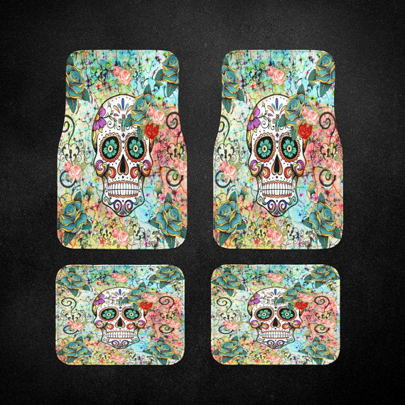 Teal, Orange and Blue Abstract Sugar Skull Car Floor Mats