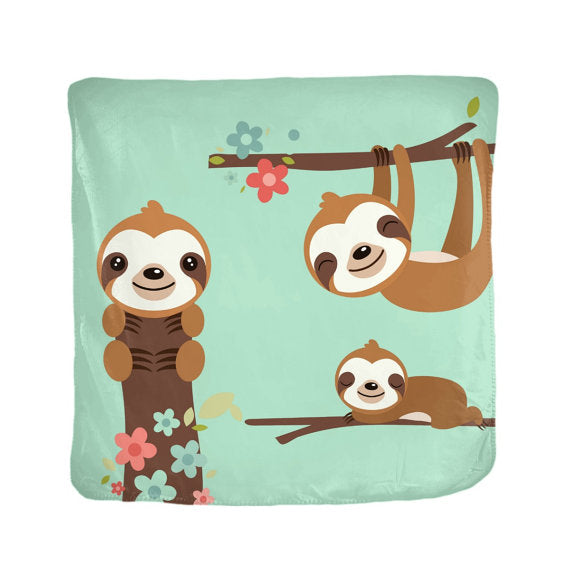 Happy Hanging Sloths Velveteen Blanket