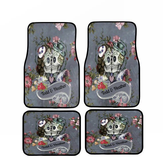Personalized Monogram Gray Floral Forevermore Kissing Skulls Vehicle Floor Mats