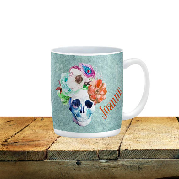 Personalized Mugs Sugar Skull Floral Watercolor Coffee Cup