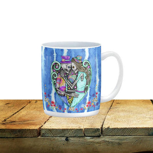 Hippie Boho Water Color Skeleton Sugar Skull Mug, 15 oz. Ceramic Coffee Cups