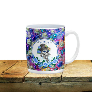 Miss Annie Blue Floral Sugar Skull Mug, 15 oz. Ceramic Coffee Cups