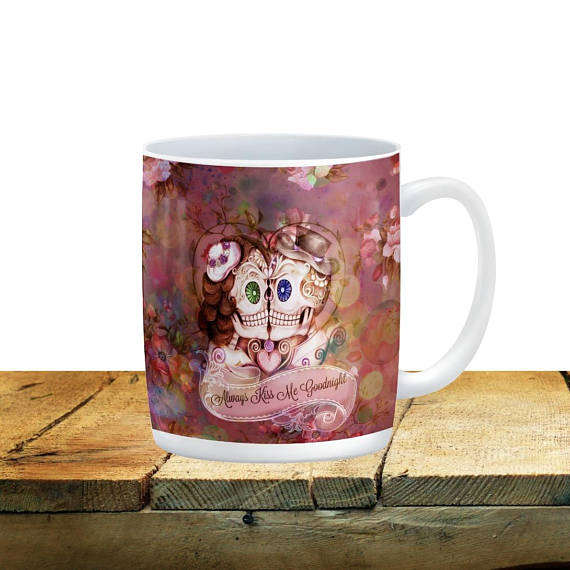 Forevermore Sugar Skulls Always Kiss Me Goodnight Rose Mug, 15 oz. Ceramic Coffee Cups