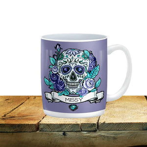 Personalized Purple Day of the Dead Sugar Skull Mug, 15 oz. Ceramic Coffee Cups