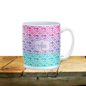 Personalized Pastel Mist Mermaid Scales Mug, 15 oz. Ceramic Coffee Cups