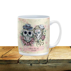 Forevermore Sugar Skulls Always Kiss Me Goodnight Mug, 15 oz. Ceramic Coffee Cups
