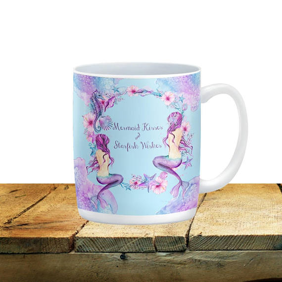 Mermaid Wishes and Starfish Kisses Mug 15 oz. Ceramic Coffee Cup