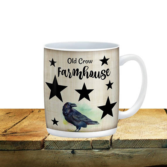 Old Crow Farmhouse Mug, 15 oz. Ceramic Coffee Cups