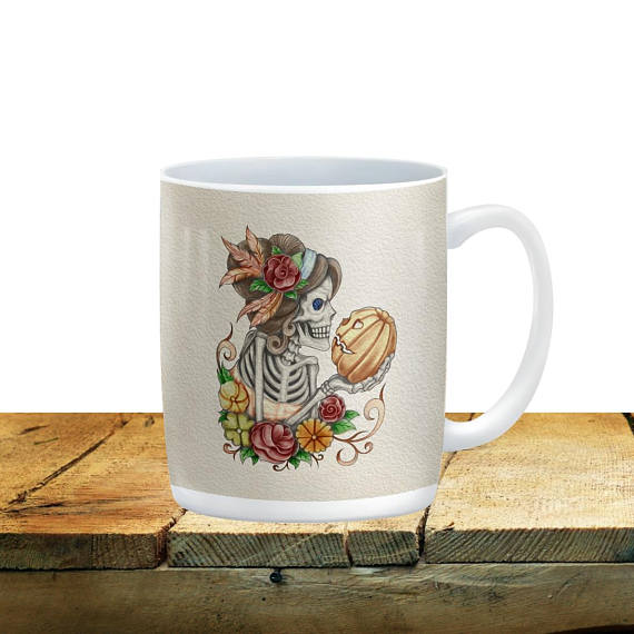 Forevermore Sugar Skulls Skeleton Diva and the Pumpkin Mug, 15 oz. Ceramic Coffee Cups