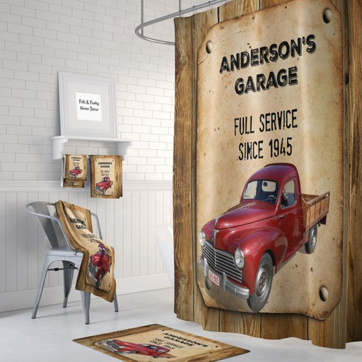 Personalized Rustic Faux Wood, Red Truck Shower Curtain