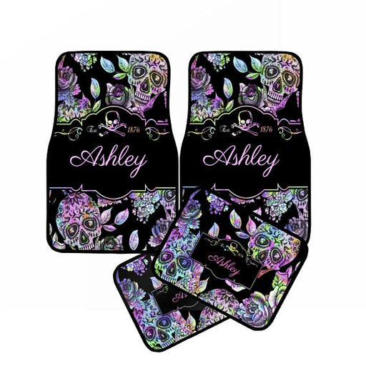 Personalized Monogram Black & Pink Chrome Sugar Skull Color Car Floor Mats