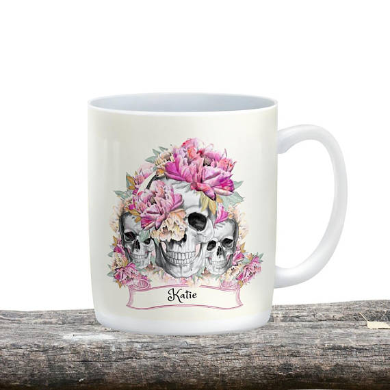 Personalized Pink Floral Three's Company Skull Mug, 15 oz. Ceramic Coffee Cups
