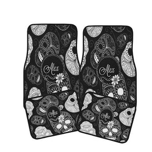 Personalized Monogram Black and White Sugar Skulls Car Floor Mats