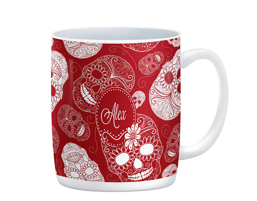 Personalized Red & White Sugar Skull Ceramic Coffee Cup | Folk N Funky