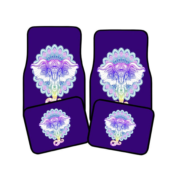 Purple Boho Chic Mandala Elephant Vehicle Floor Mats