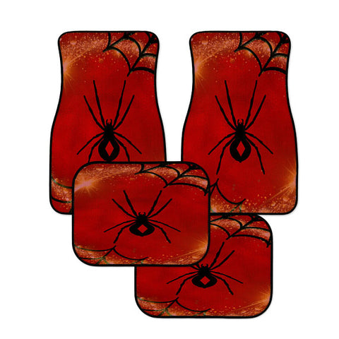 Red Diamond Black Spider Car Floor Mats