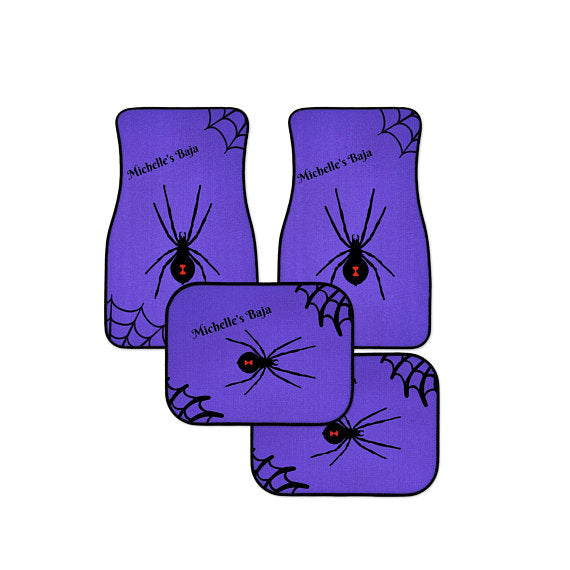 Personalized Monogram Purple Background Black Widow Spider Car Floor Mats