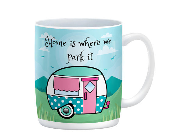 Retro Camper, Home Is Where We Park It Mug, 15 oz. Ceramic Coffee Cups