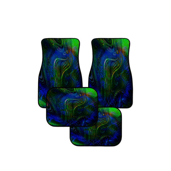 Blue Abstract Peacock Feather Car Floor Mats